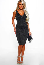 Sparkly Lurex Midi Dress - Full Length View