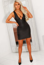 Black Structured Cup PU Mini Dress