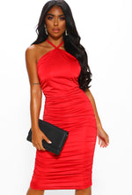 Red Slinky Midi Dress