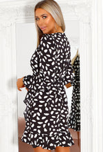 Frill Detail Polka Dot Wrap Dress