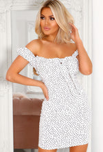 White Polka Dot Bardot Dress