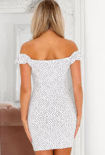 Polka Dot Bardot Ruched Dress