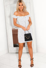White Polka Dot Bardot Mini Dress