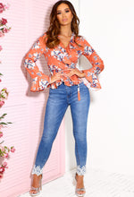 Coral Floral Long Sleeve Wrap Top