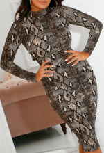 Long Sleeve Snake Print Midi Dress