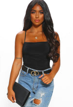 Black Slinky Ruched Cami Top