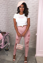 Pink Distressed Jeans Outfit - Full Length View