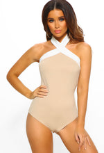 Never Enough Nude And White Halterneck Bodysuit