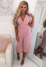 Blush Pink Culotte Jumpsuit - Front with Background