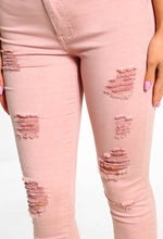 Pink Distressed Jeans - Detail View