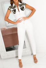 White Denim Jumpsuit with Camo
