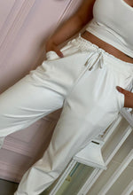 PU Leather Joggers in White