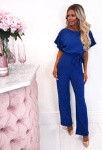 Blue Wide Leg Jumpsuit - Front with Background