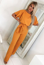 Mustard Wide Leg Jumpsuit - Front with Background