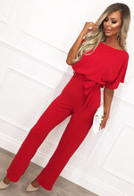Red Wide Leg Jumpsuit - Front with Background