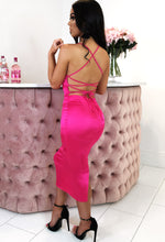 Hot Pink Satin Cross Strap Back Midi Dress - Back View with Background