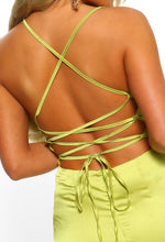 Oh So Stunning Lime Satin Cowl Cross Strap Back Midi Dress