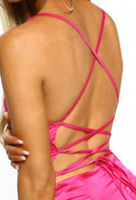 Hot Pink Satin Cross Strap Back Midi Dress - Detail Close up