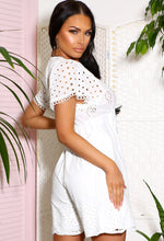 White Frill Playsuit Short Sleeves
