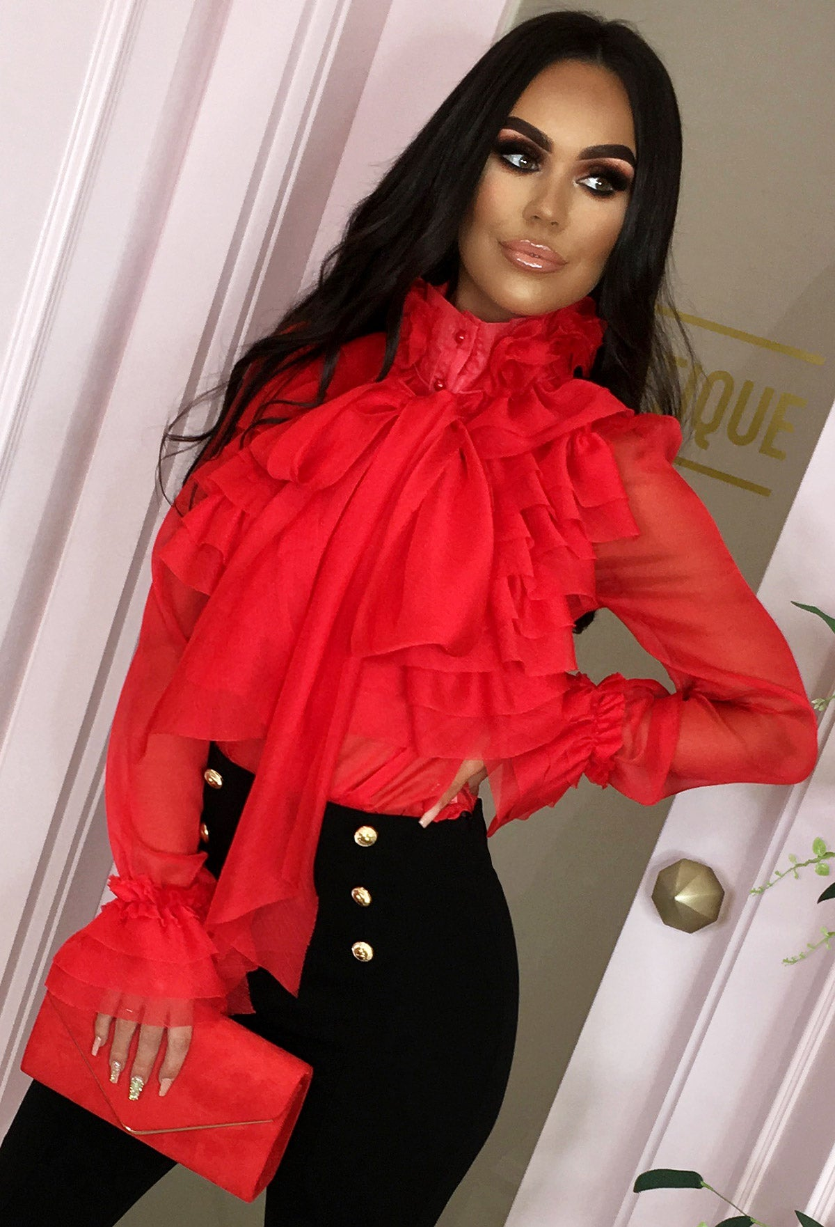 89ed879a15 On Show Red Sheer Pussy Bow Ruffle Blouse – Pink Boutique UK