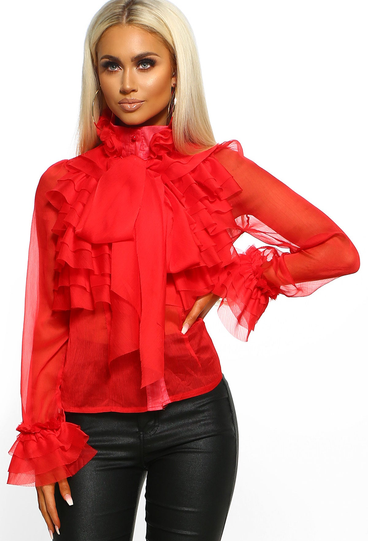 52651da33834 On Show Red Sheer Pussy Bow Ruffle Blouse – Pink Boutique UK