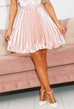 Baby Pink Pleated Satin Mini Skirt