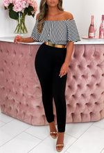 Out Of Control Black Striped Bardot Jumpsuit
