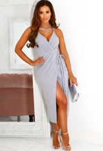 Grey Wrap Front Dress