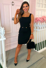 Lady Love Black Button Detail Knitted Mini Dress