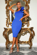 Blue Scuba Midi Dress - Campaign Image