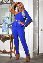 Blue One Shoulder Peplum Jumpsuit - Campaign Image