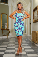 Blue Chain Print Ruched Midi Dress - Campaign Image
