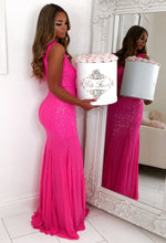 Pageant Princess Pink Sequin Maxi Dress
