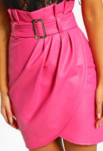 Pageant Queen Pink Faux Leather Belted Wrap Mini Skirt