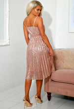 Rose Gold Sequin Strappy Dress