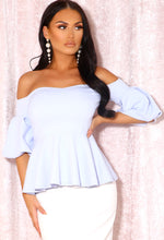 Blue Puff Sleeve Bardot Top