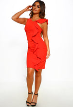 Red Ruffle Detail Midi Dress