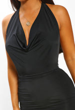 Black Slinky Cowl Neck Mini Dress - Cowl Detail Close up