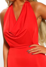 Red Slinky Cowl Neck Mini Dress - Cowl Detail Close up