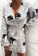Read All About News Print Batwing Long Sleeve Mini Dress With Elasticated Waist