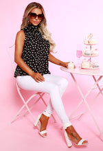 Monochrome Polka Dot Pussybow Blouse - with background