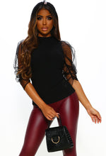 Mesh Sleeve High Neck Jumper