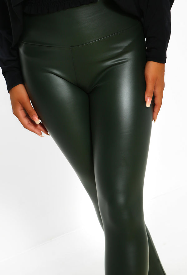 official supplier exceptional range of styles full range of specifications Pose Party Khaki PU Leather High Waisted Stretchy Leggings - 8