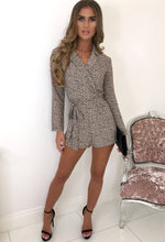 Animal Print Long Sleeve Playsuit