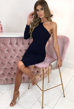 Pure Desire Navy Chain Detail One Shoulder Bodycon Midi Dress