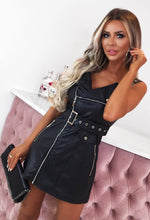 Black Faux Leather Belted Biker Mini Dress
