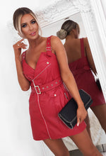 Red Faux Leather Belted Biker Mini Dress