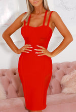 Red Cross Back Bandage Dress