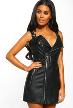 Rebel Love Black Faux Leather Belted Biker Mini Dress