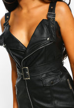 Black Faux Leather Belted Dress